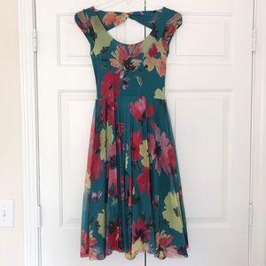 Anthropologie Teal Floral Weston Wear Dress